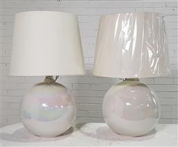 Sale 9174 - Lot 1124 - Pair of large cream iridescent ball form table lamps (h72cm)