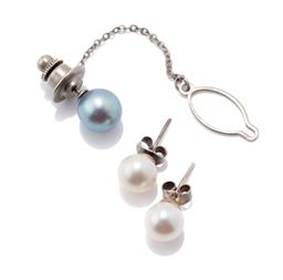 Sale 9253J - Lot 516 - A PEARL STUD EARRINGS AND TIE TACK; a pair of 8mm round cultured pearl silver stud earrings, and a 9mm round silver grey cultured pe...