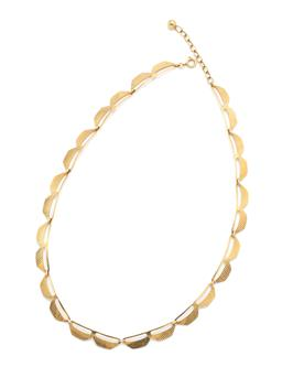 Sale 9253J - Lot 390 - A VINTAGE 14CT GOLD NECKLACE; 7.6mm wide fancy textured links to chain with bead terminal and bolt ring clasp, adjustable length to...