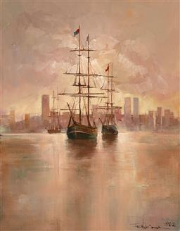 Sale 9255S - Lot 5 - Peter Fennell - Sailing ships in the harbour 1988 63.5x49.5cm Frame 93 x 79 x 5cm