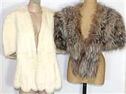 Sale 8173F - Lot 360 - TWO VINTAGE FUR STOLES; Cornelius silver Fox and white lapin with no tag.