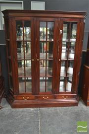 Sale 8277 - Lot 1008 - Timber Mirrored Back Display Cabinet with Three Drawers to Base