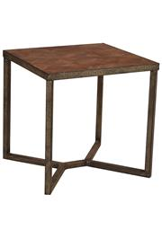 Sale 8342A - Lot 175 - A pair of reclaimed timber parquet top side tables with metal frame, H 50 x W 50 x D 50cm
