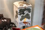 Sale 8362 - Lot 206 - Japanese Handpainted 4-Sectioned Lunchbox (2 chips)
