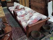 Sale 8566 - Lot 1665 - Timber Framed Two Seater & Three Seater with Wicker & Upholstered to Back & Sides