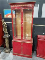 Sale 8717 - Lot 1005 - Oriental Red Lacquered Display Cabinet with Two Glass Panel Doors