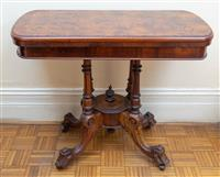 Sale 8735 - Lot 85 - A Victorian burr walnut foldover card table with exquisite marquetry, baize green lined interior, bird support on porcelain castors,...