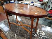 Sale 8814 - Lot 1014 - Late Victorian Marquetry Occasional Table, with oval top with trophies and floral arabesques (top distressed), on square legs with s...