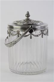 Sale 8810 - Lot 17 - An Art Nouveau Cut Glass and Silver Plated Biscuit Barrel, Possibly WMF