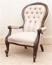 Sale 8881H - Lot 32 - A C19th button back parlour elbow chair upholstered in mushroom colour raw silk by Jim Thompson. H 96 x W 70cm