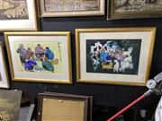 Sale 8888 - Lot 2077 - Chinese School (2 works) - Domestic Scenes gouache, 70 x 91cm (frame)