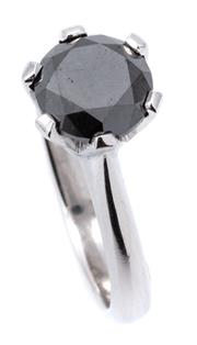 Sale 9066A - Lot 60 - AN 18CT WHITE GOLD SOLITAIRE BLACK DIAMOND RING; 6 claw set with a round brilliant cut black of approx. 2.30ct, size M, wt. 5.6g.