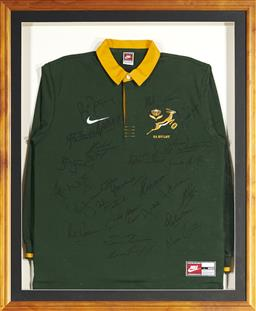 Sale 9098 - Lot 106 - A Signed South African Springbok Jersey in Frame, (98 x 81) cm