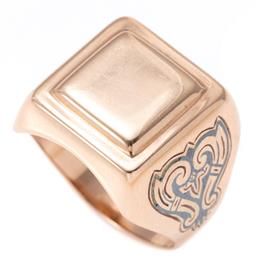 Sale 9156J - Lot 373 - A GENTS RUSSIAN 14CT GOLD SIGNET RING; stepped square top (unengraved) to niello scroll motif shoulders, some losses, size V, wt. 7....
