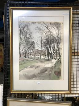 Sale 9147 - Lot 2070 - Artist Unknown  English Church Scene, watercolour, frame: 72 x 52 cm, signed lower right