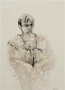 Sale 9174JM - Lot 5015 - MARGARET WOODWARD (1938 - ) Kimono Model, 1995 pastel, watercolour and ink 73 x 54 cm (frame: 107 x 87 x 3 cm) signed and dated lowe...