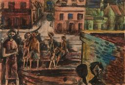 Sale 9244 - Lot 503 - WILLIAM FLETCHER (1924 - 1983) Playground at Woolloomooloo, c1952 ink and watercolour 20 x 29 cm (frame: 46 x 51 x 3 cm) unsigned, A...