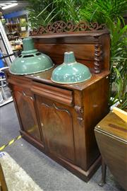 Sale 8039 - Lot 1049 - Late 19th Century Cedar Chiffonier, with shelf on barley twist supports, two drawers and two shield panel doors