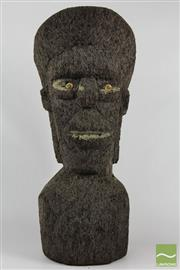 Sale 8520T - Lot 121 - Pair of coconut wood carved easter island design head statues. (Some damage to both) 60 cm high.