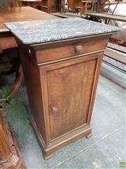 Sale 8634 - Lot 1022 - 19th Century French Mahogany Bedside Cabinet, with mottled black marble top, a drawer & panel door