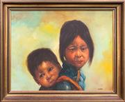 Sale 8750 - Lot 2007 - Artist Unknown - Sister and Brother, 54 x 65.5cm, acrylic on canvas, signed lower right -