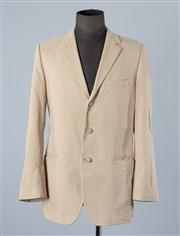 Sale 8770F - Lot 43 - A Hugo (Red label) Hugo Boss three-buttoned blazer jacket in beige with patterned lining, size 50 (staining to back of right arm)
