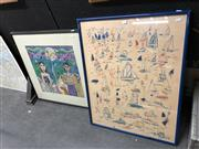 Sale 8816 - Lot 2076 - 2 Works: Artist Unknown - Couple, pastel on paper, SLR with a Ken Done Print