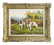 Sale 8888H - Lot 60 - Spaniels by  Morey, Belgium, early C20th School – oil on canvas signed  38 x 55 cm