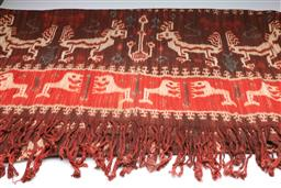 Sale 9093P - Lot 14 - Indonesian Brown and Cream Batik with Lion and Deer Motifs, 247 x 122cm.