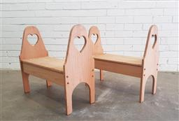 Sale 9102 - Lot 1163 - Pair of small timber lift top benches (h:59 x w:63 x d:28cm)