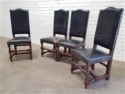 Sale 9162 - Lot 1010 - Set of four French leather high back chairs, in dark brown leather with brass studs, raised on turned legs with stretchers (h116 x w...