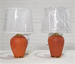 Sale 9166 - Lot 1045 - Pair of terracotta jar form table lamps with gold trim to base (h43cm)