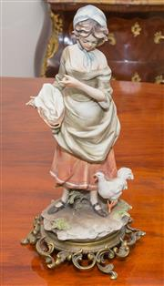 Sale 8341A - Lot 62 - A Capodimonte style Italian porcelain figure of a girl on a brass base, H 34cm