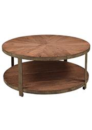 Sale 8342A - Lot 328 - A circular patterned reclaimed solid oak coffee table with lower level and aged metal frame, H 45 x D 100cm