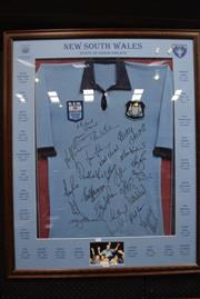 Sale 8346 - Lot 2005 - Signed NSW Blues  The Greats Jersey