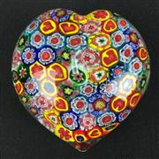 Sale 8402D - Lot 63 - Murano Millefiori Heart Shaped Paperweight (Length - 8cm)