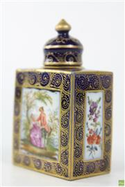 Sale 8586 - Lot 16 - Porcelain Blue and Gilt Perfume Bottle with Lady and Gent Scene