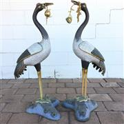 Sale 8607R - Lot 28 - Pair of Garden Cloissone Cranes with Gilt Bronze Peach Blossoms (H: 94cm)