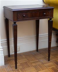 Sale 8735 - Lot 87 - A C20th Mahogany single drawer side table on tapering legs, H x 69cm, W x 61, D x 36.5cm