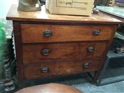 Sale 8782 - Lot 1332 - Oak Chest of 3 Drawers