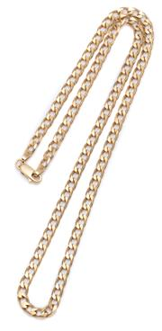 Sale 9012 - Lot 354 - A 9CT GOLD CURB CHAIN; 4.4mm wide flat curb links to a parrot clasp, length 50cm, wt. 16.45g.