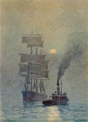 Sale 9030 - Lot 570 - Frederick Elliot (1864 - 1949) - Steam & Sail in the Moonlight 37 x 26 cm (frame: 60 x 49 x 3 cm)