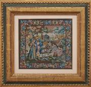 Sale 9081H - Lot 25 - An antique  European tapestry of diminutive size depicting a pastoral scene, in a gilt frame 16cm x 17cm