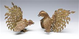 Sale 9098 - Lot 14 - Pair of Brass Roosters (H:16cm)