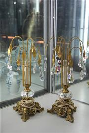 Sale 7953 - Lot 33 - Pair of Gilded Lights w Crystal Drops