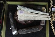Sale 7982 - Lot 74 - Chinese Parasol, Bone Fan, Timber Carved Bowl & a Part Rosewood Panel of a Dragon