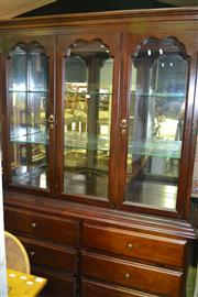 Sale 8093 - Lot 1474 - Timber Buffet & Hutch w Glass Doors & Cabinet Base (061011, 060342)