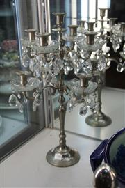 Sale 8283 - Lot 31 - Silver Plated Drop Crystal Eight Branch Candelabra (one bobeche missing)