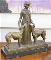 Sale 8338A - Lot 109 - A Chiparus style bronze figure of a lady with greyhounds, on a black marble base, total H 35 x W 32cm