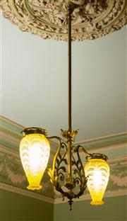 Sale 8418A - Lot 38 - A twin branch brass gasolier fitted for electricity with hand blown yellow shades, H of shades 29cm